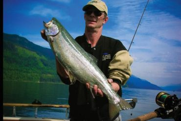 Percy with Kootenay Lake Rainbow Chinook in 2006