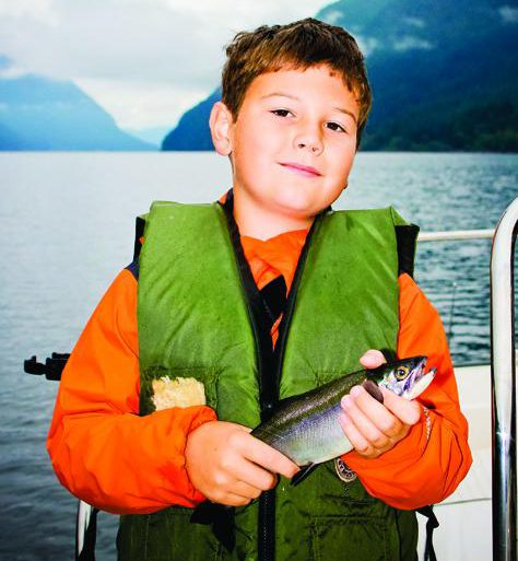 The author's nephew, Parker Sutherland, with an Alouette Lake kokanee