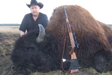 Matt Siemens with a bison kill