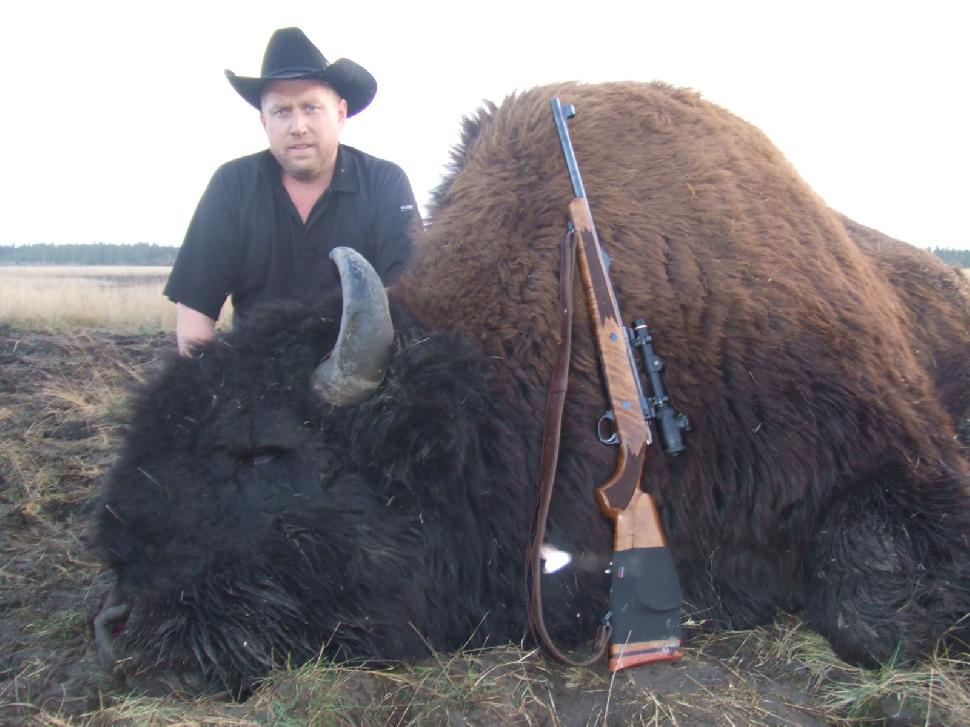 Matt Siemens with his bison kill in 2012