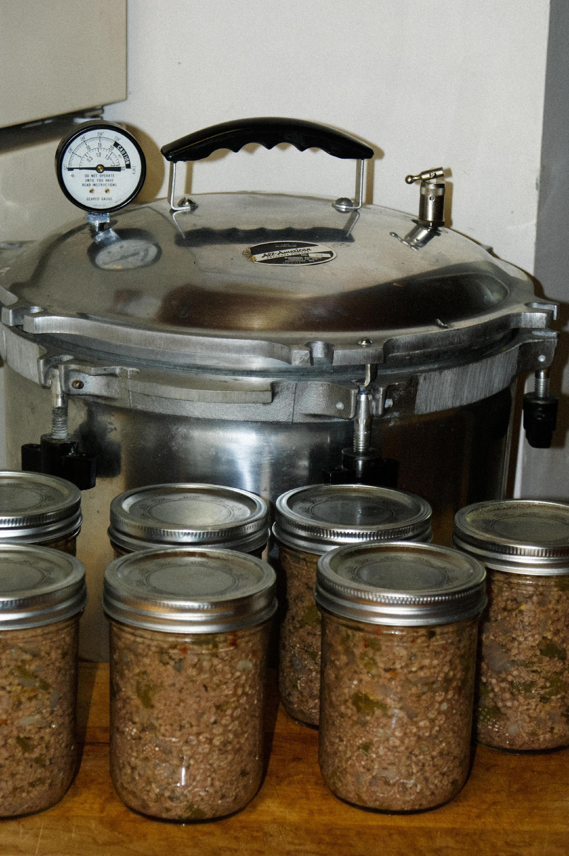Canned ground venison straight out of the pressure canner