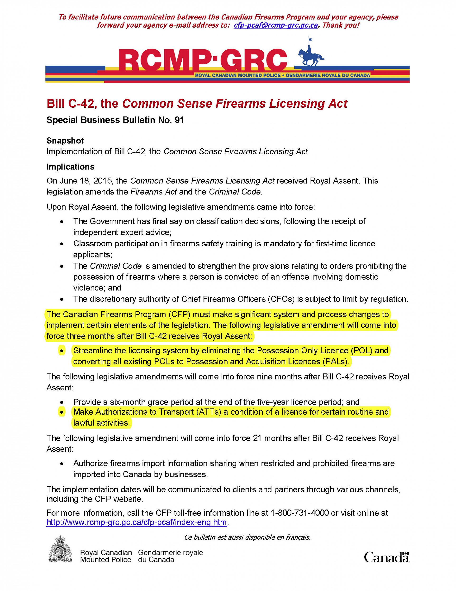 Bill C-42 as of June 2015