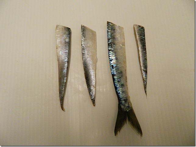 L to R: Super Strip - thinner from head to tail and triangle-shaped usually cut off the left side of the herring; Large Strip- less triangular in shape and a bit thicker it was usually cut off the right side of the herring; A variation of Tyee Strip which includes the tail of the herring and Tiny Strip cut narrower, shorter and triangular in shape. Via Tom Davis.