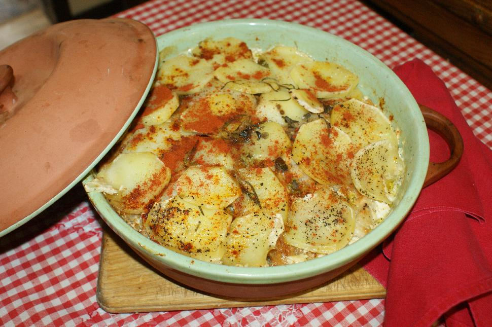 Scalloped burbot casserole