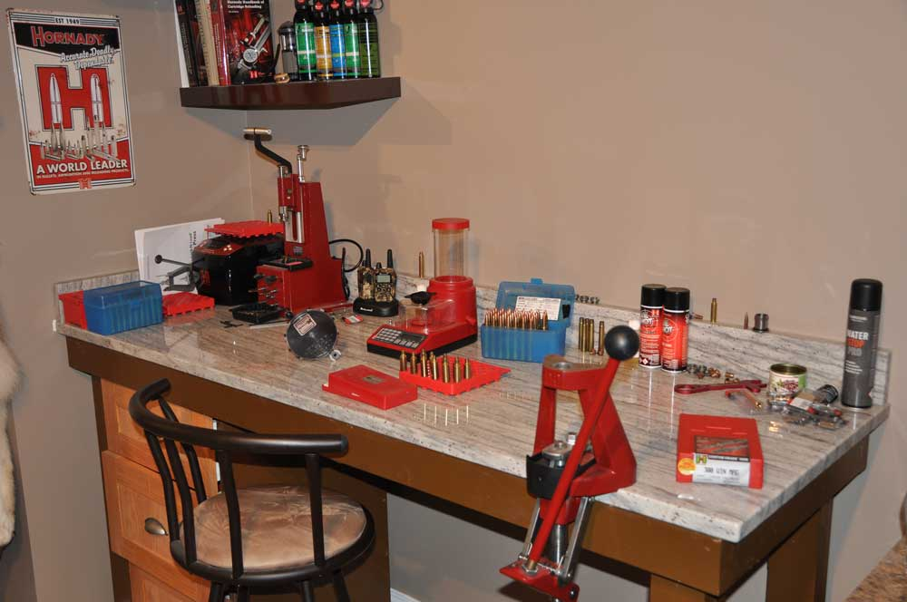 The author's reloading bench is sturdy and well set up. Credit: T.J. Schwanky.