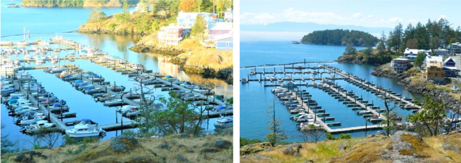 Comparison of fishing boats moored at Cheanuh Marina on the Sc'ianew (Beecher Bay) First Nation Reserve in East Sooke (Left picture taken Jun 2018 – right picture taken May 2019)