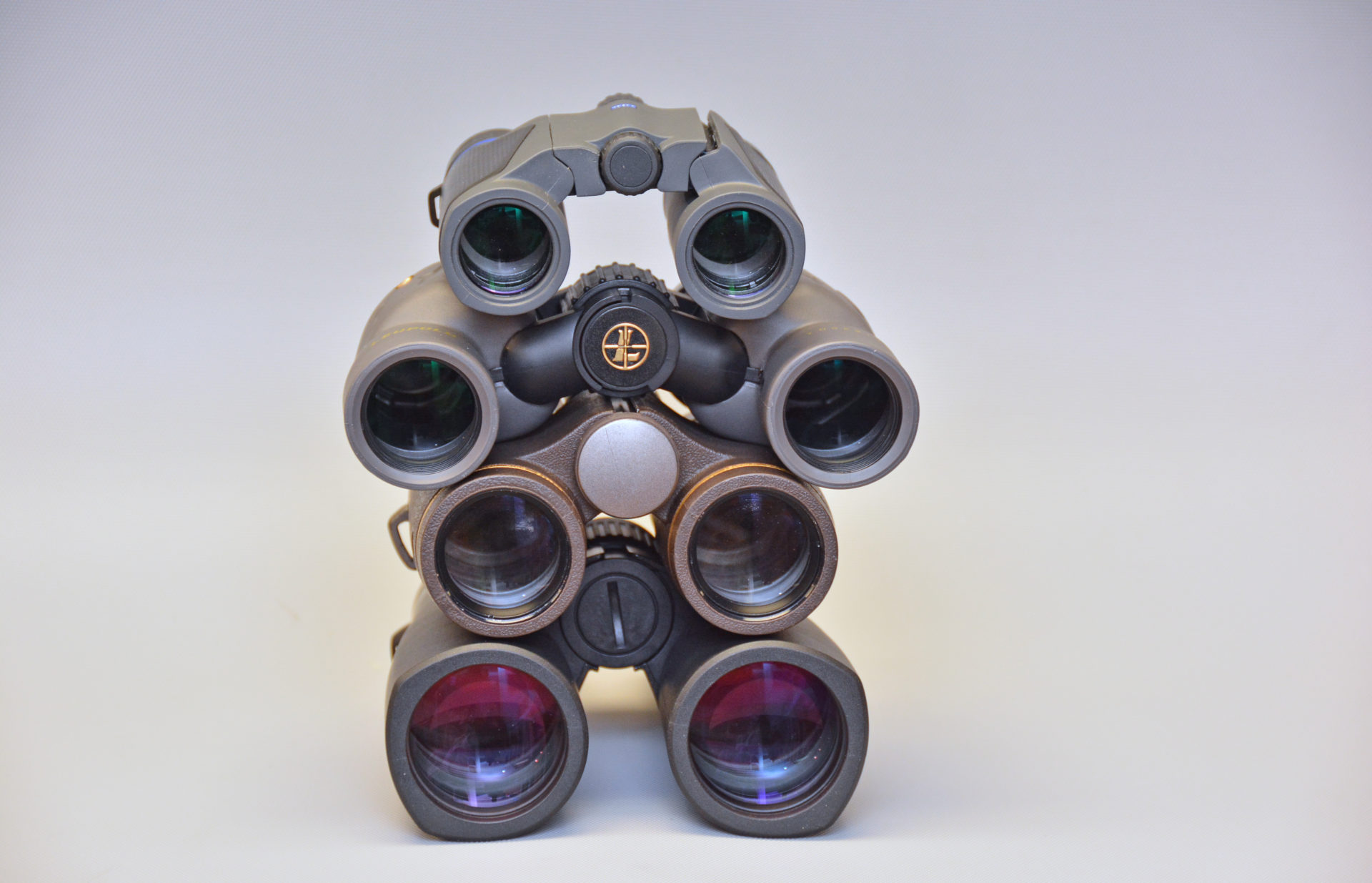 Objective lens size is a large determinate of how they perform in dim light. From top to bottom these optics have 25, 30, 32 and 42-millimetre objective lenses.