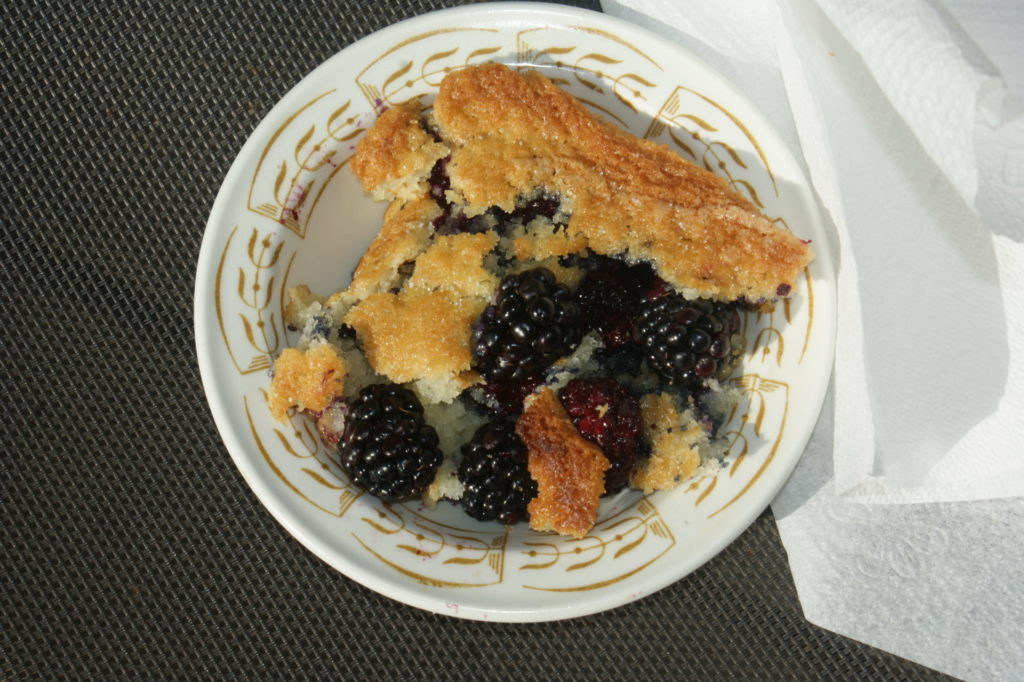 A bowl of blackberry cobbler.