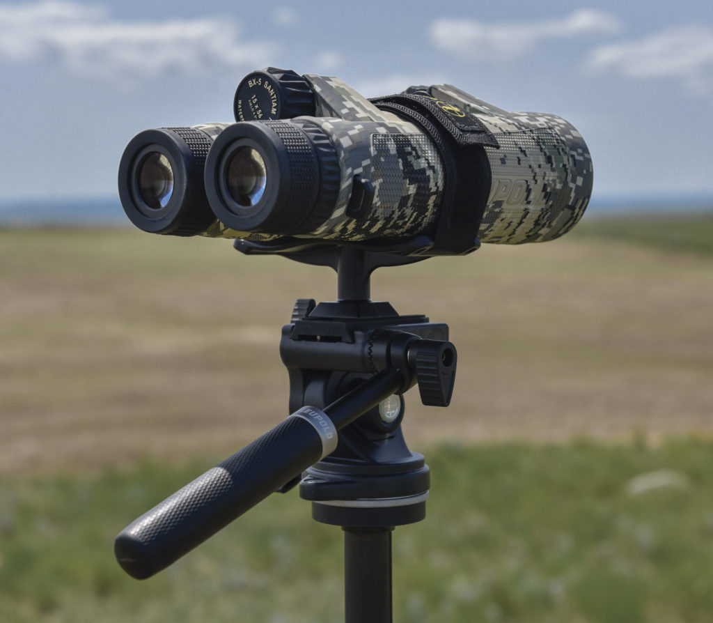 A binocular tripod mount is a good investment, to relieve neck and arm strain.