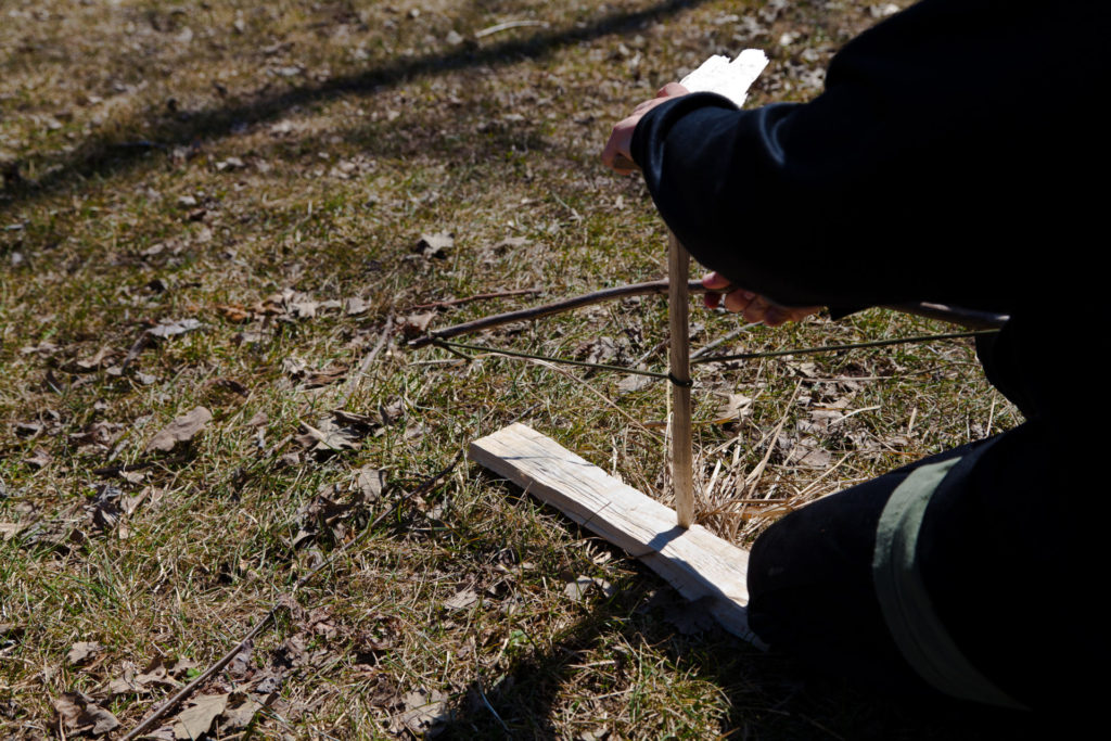 The fire bow is the most effective last-ditch, fire-starting method, and is comprised of four integral components: the baseboard, the spindle, the bearing block and the bow. Photo by Dreamstime/Diamantonix.