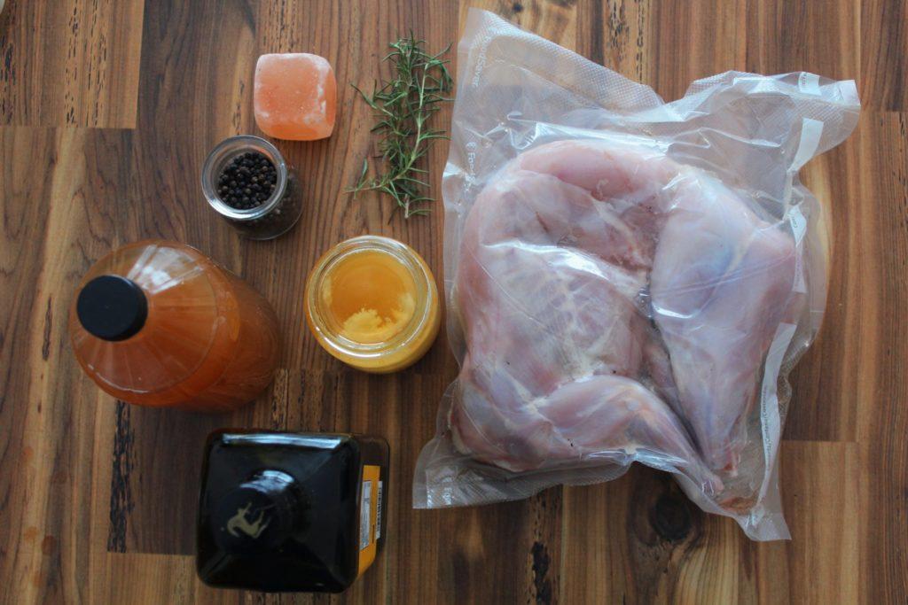 Honey rosemary baked rabbit ingredients. Credit: Raeanne O'Meara.