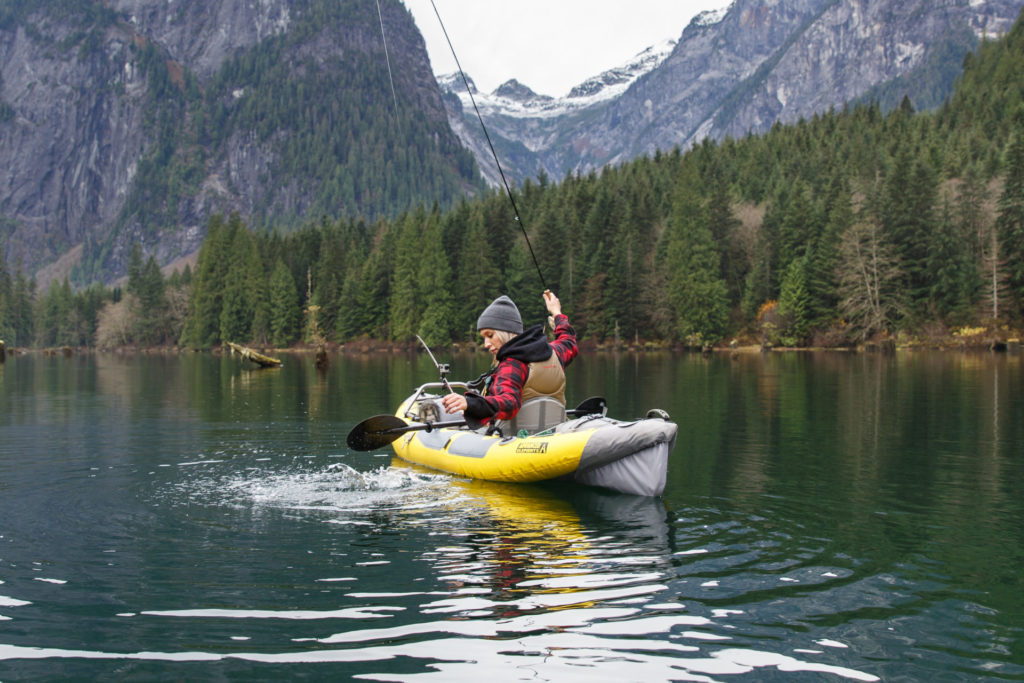 Recently the author had an amazing opportunity to join in on some inflatable kayak trout fishing with a helicopter tour company, Compass Heli Tours, operating glacier mountain and camping/fishing tours out of Abbotsford, BC.
