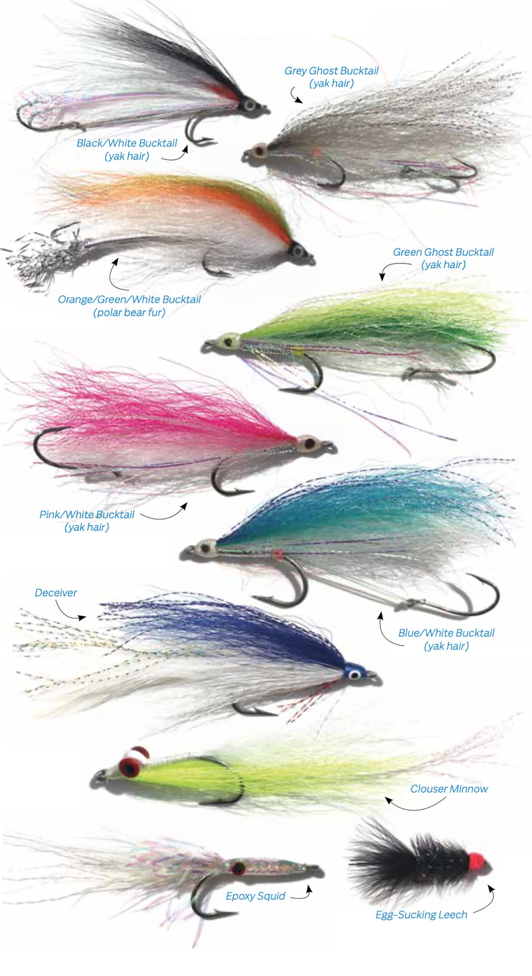 Flies kindly chosen by expert staff at Michael & Young Fly Shop (Instagram: @myflyshop). Bucktails tied by @theflyboxx.