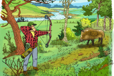 3D shoots are great fun for the whole family, and an excellent way to keep your archery skills sharp for hunting season. Illustration by Keith Milne.
