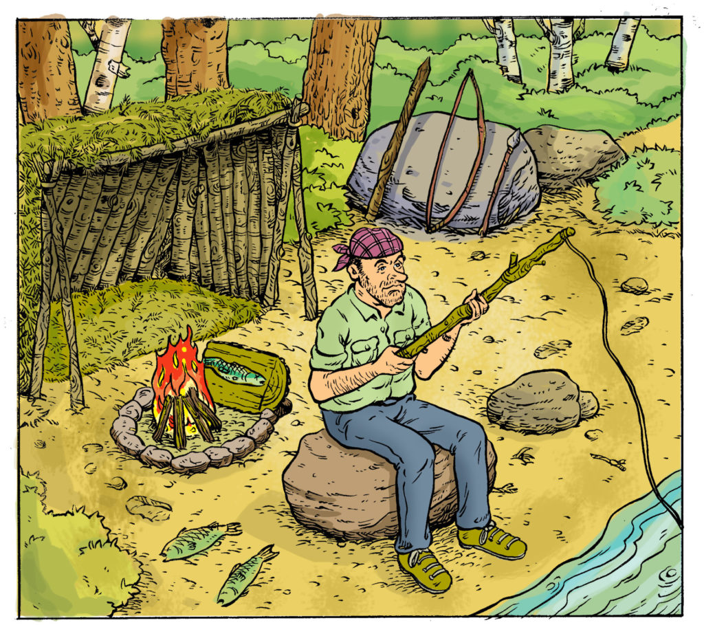 "The ""skills"" taught on survival shows are not always accurate or safe to attempt. Illustration by Keith Milne and Gord Coulthart."