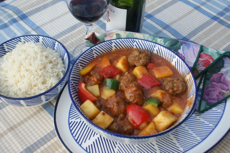 Bear Meatballs with Pineapple & Peppers
