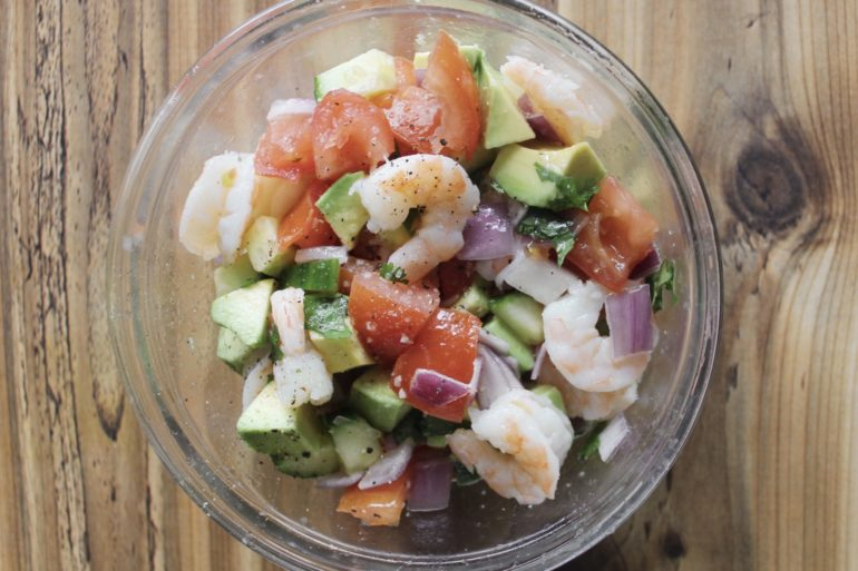 Easy prawn avocado salad. Credit: Raeanne O'Meara.