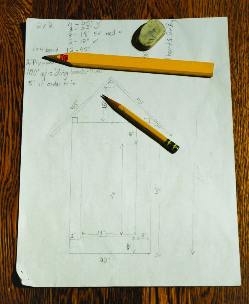1: Designing a smokehouse starts with a great idea and roughing out the dimensions on paper.