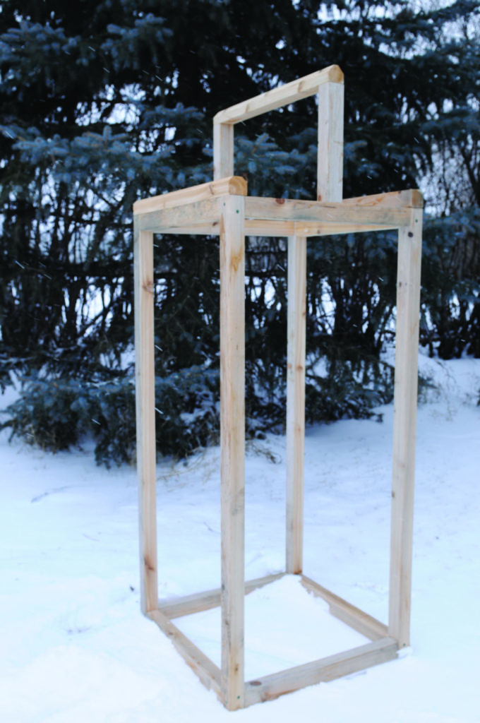 2D: Completed smokehouse frame made from 2x2 boards.