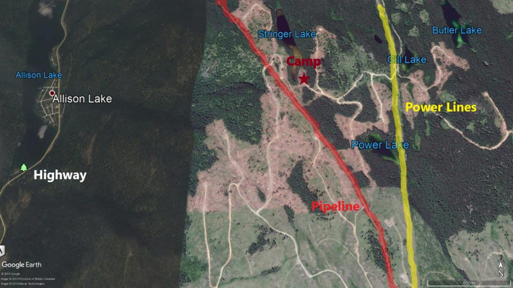 A similar area to my last hunt. I've highlighted a pipeline in red and the power lines in yellow.