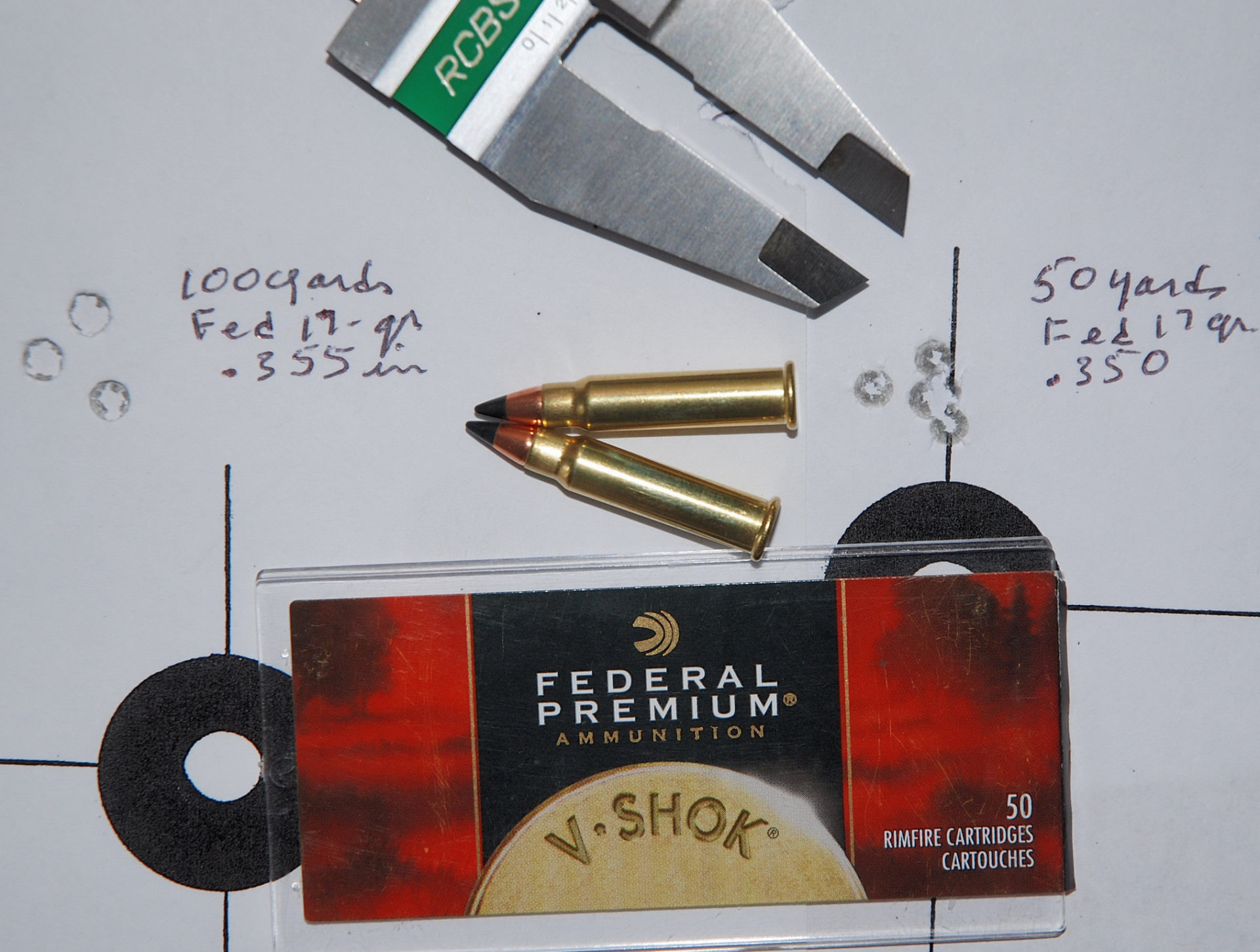 Federal Premium V-Shok Hornady 17-grain V Max Polymer Tip ammunition provided the best combined 50 and 100-yard accuracy, with .350 and .355-inch groups.