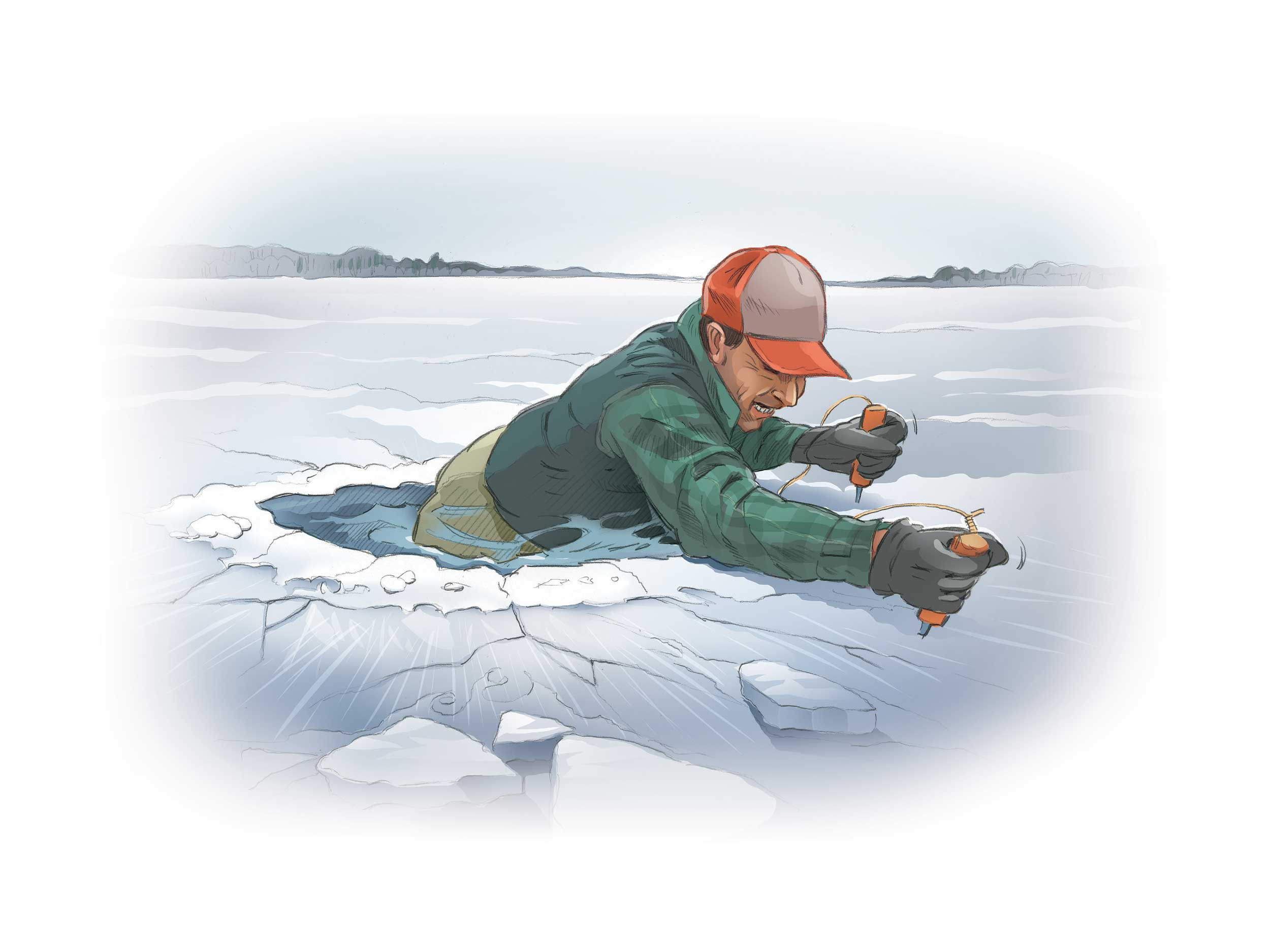 The key to surviving a fall through the ice is preparation. A pair of ice grippers could save your life. Illustration By Mike Del Rizzo.