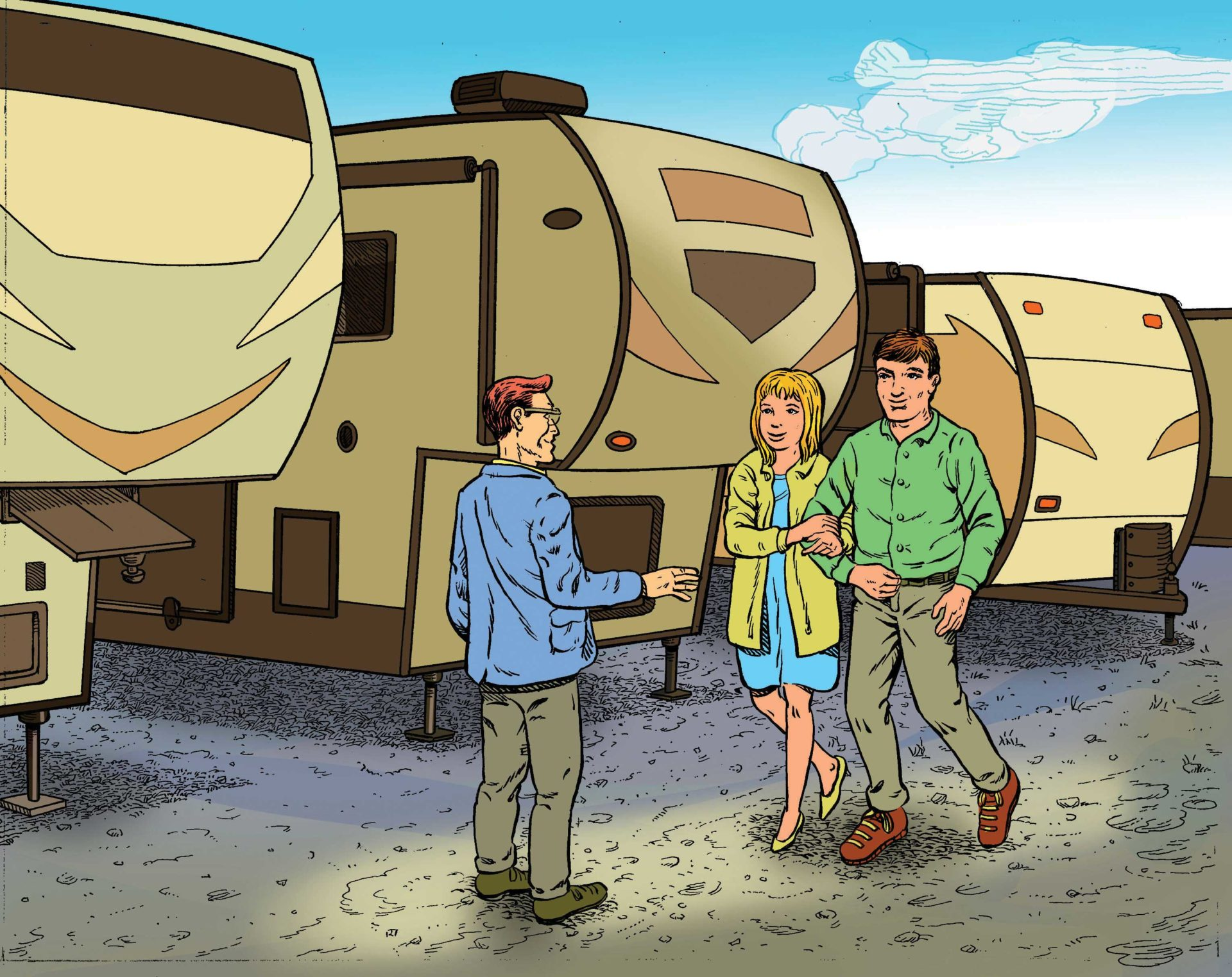 If you're thinking about purchasing an RV, make sure you know about potential problems to look for. Illustration by Keith Milne and Gord Coulthart.