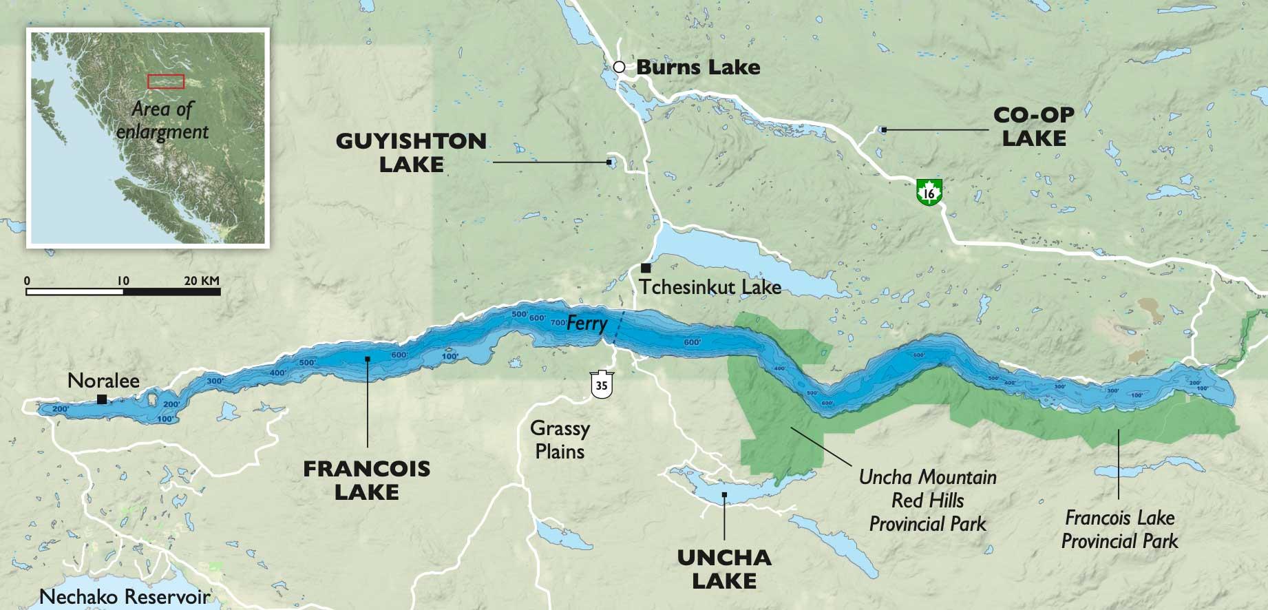 Francois Lake map