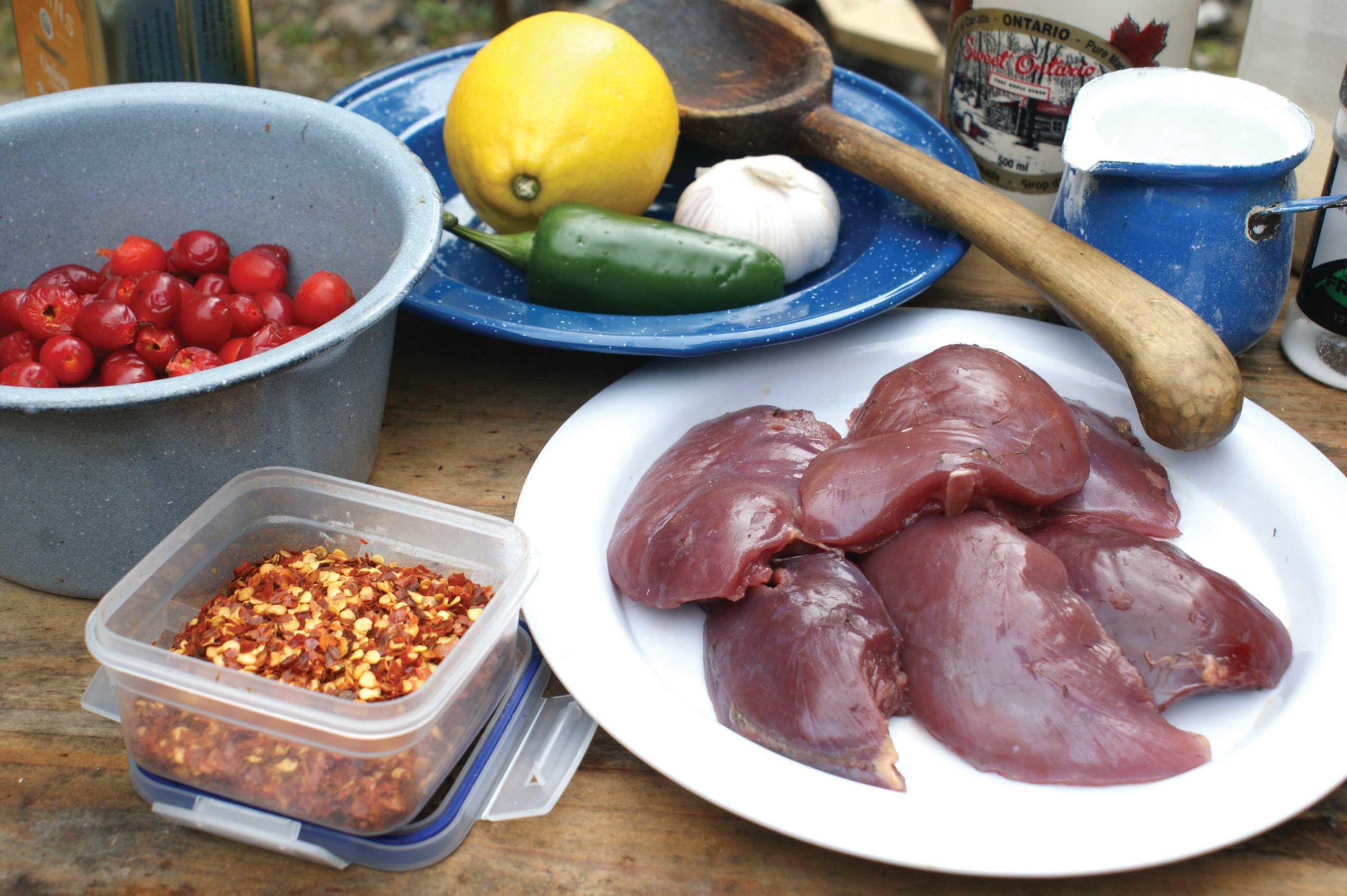 Grouse and rosehip supper fixings.