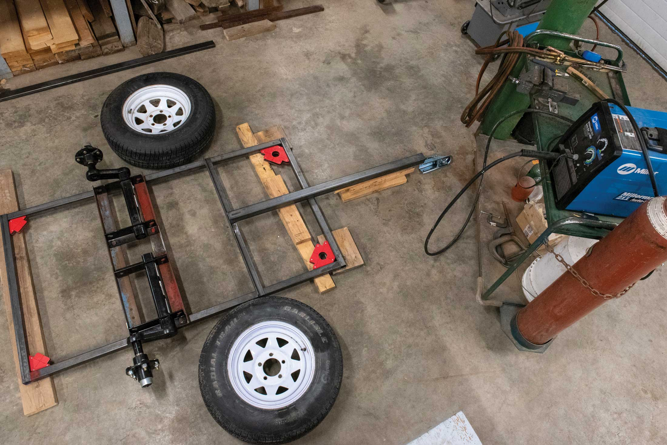 Step 1, plans and parts: I decided on the size, shape and parts specification for the trailer I wanted to build. I scrounged used metal where I could and purchased the parts and materials I needed.
