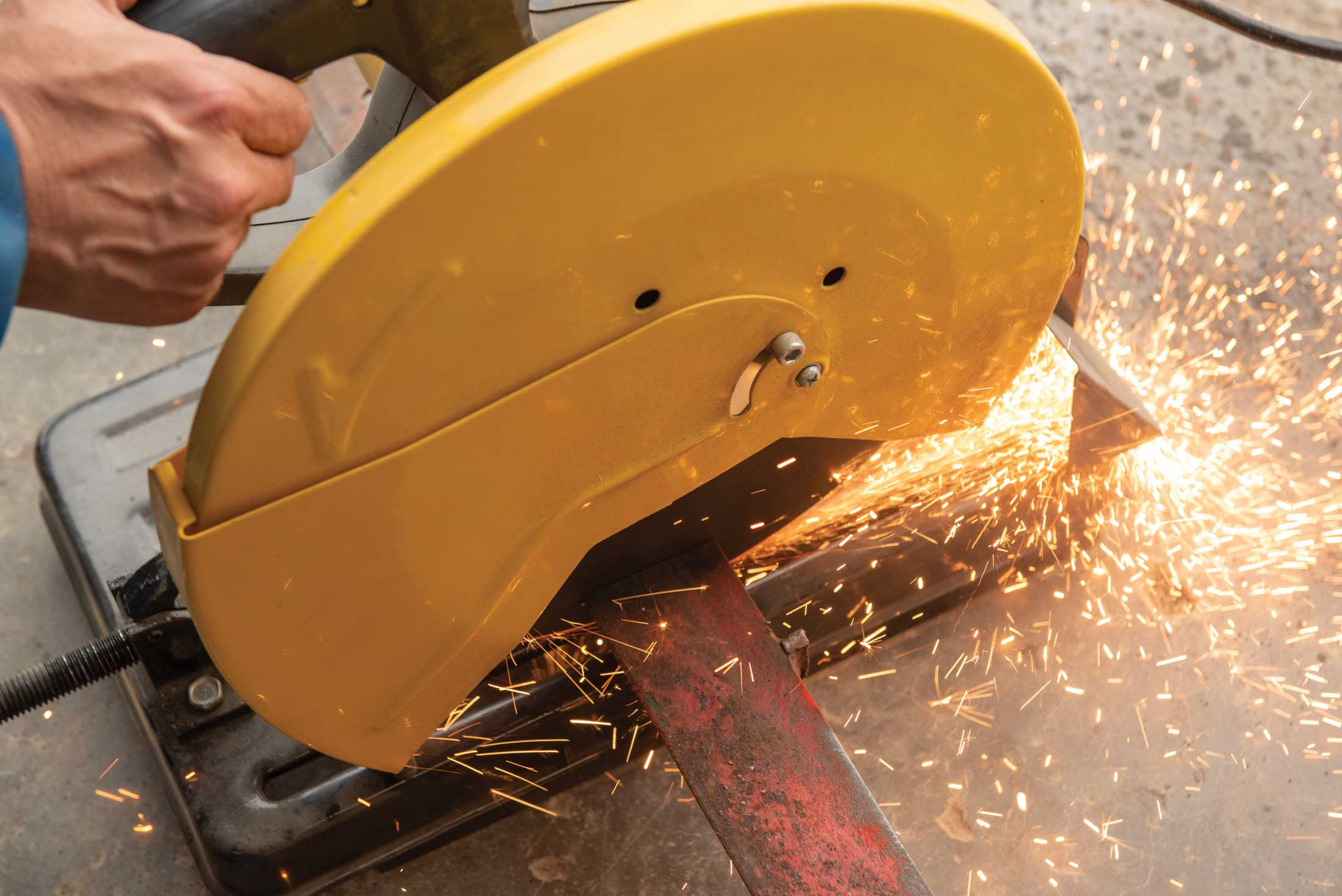 Step 3, cutting: I used a chop saw to cut most of the metal parts to length. A metal cutting bandsaw is another method for cutting metal parts.