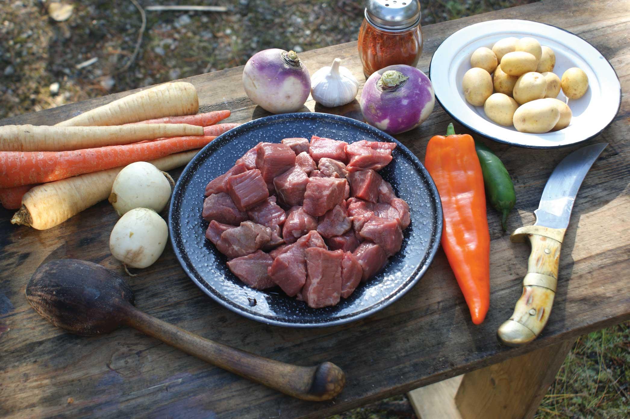 Dutch Oven Campfire Game Stew ingredients.