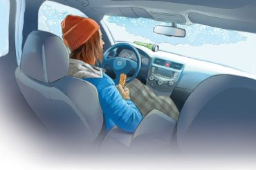Stuck In A Car. Illustration by Mike Del Rizzo.