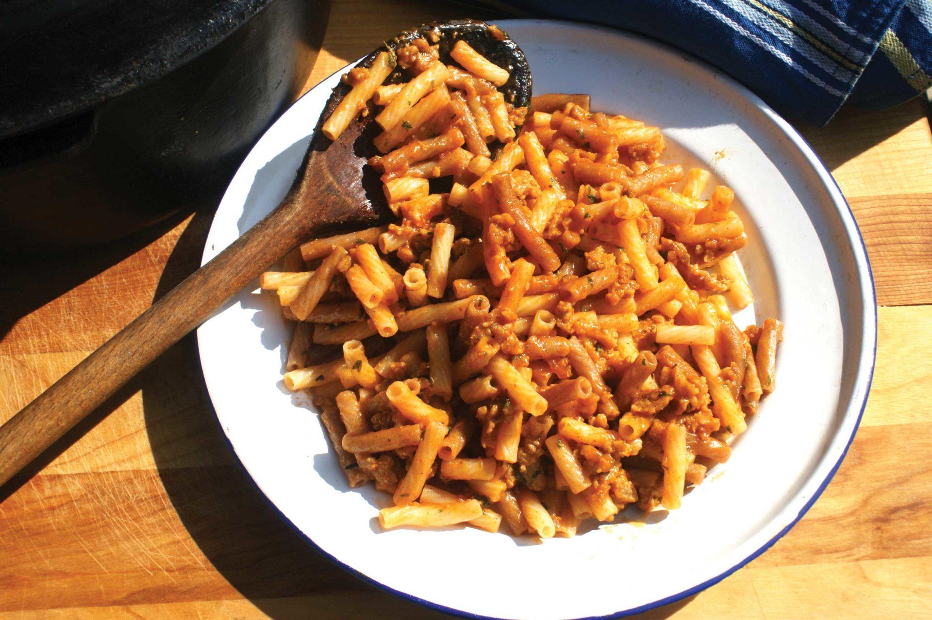 Homemade hamburger helper, made with ground venison quinoa noodles and homemade seasoning mix.
