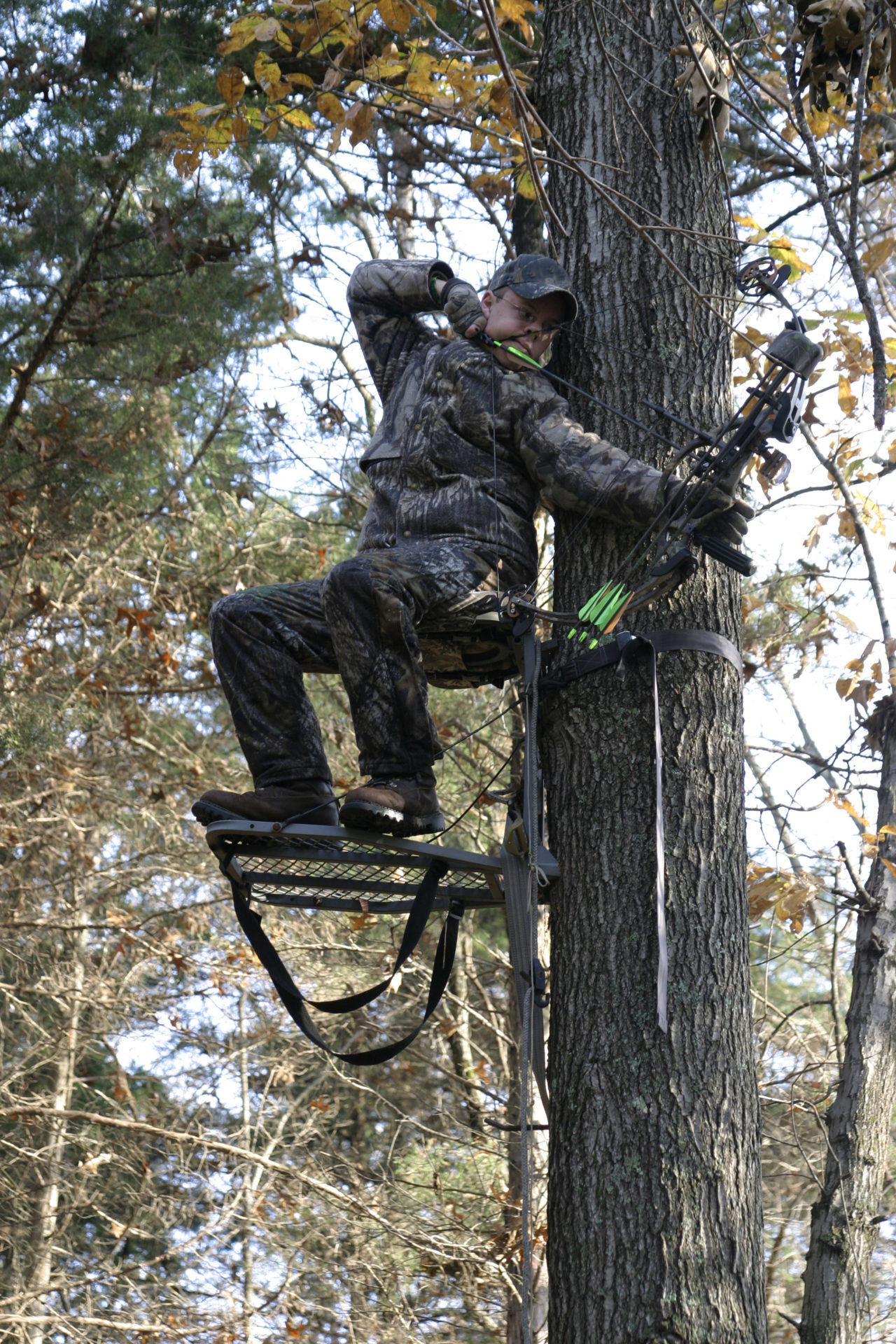 Camouflaged Bowhunter in tree stand at full draw.