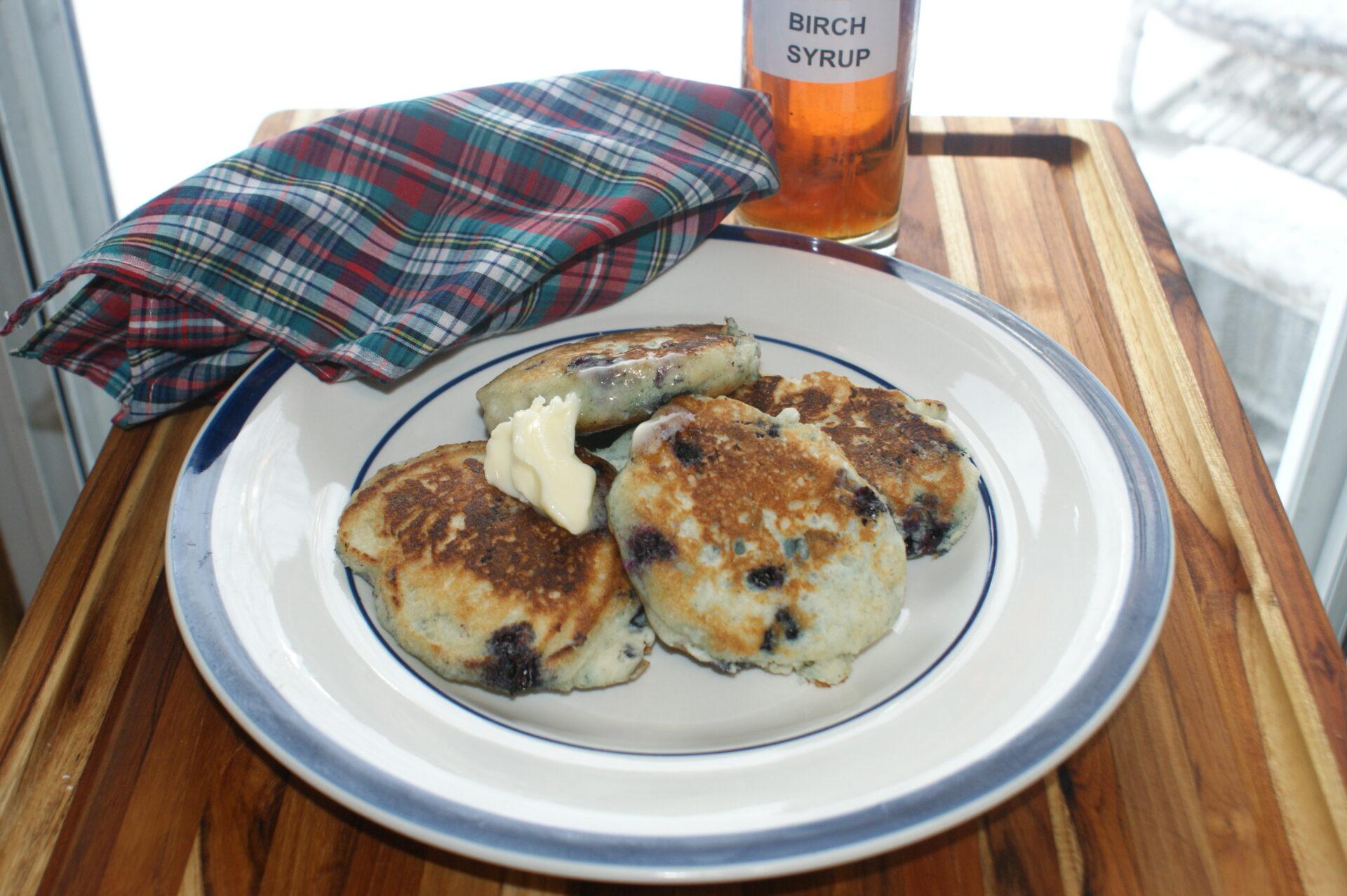 Wild Blueberry-Buttermilk Pancakes With Birch Syrup
